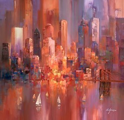 Sunset Glow I by Wilfred -  sized 38x38 inches. Available from Whitewall Galleries